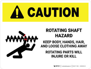 Caution: Rotating Shaft Hazard Keep Body Landscape - Wall Sign