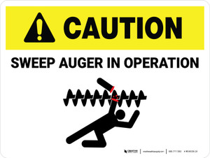Caution: Sweep Auger In Operation Landscape - Wall Sign