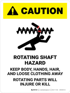 Caution: Rotating Shaft Hazard Keep Body Portrait - Wall Sign