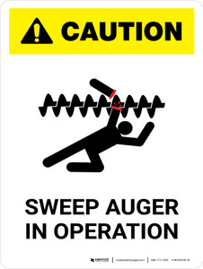Caution: Sweep Auger In Operation Portrait - Wall Sign