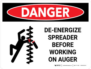 Danger: De-Energize Spreader Before Working Landscape - Wall Sign