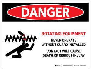 Danger: Rotating Equipment Landscape - Wall Sign