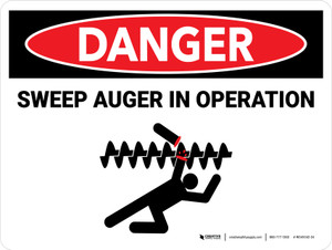 Danger: Sweep Auger In Operation Landscape - Wall Sign
