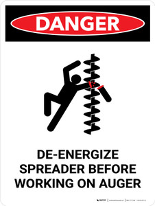 Danger: De-Energize Spreader Before Working Portrait - Wall Sign