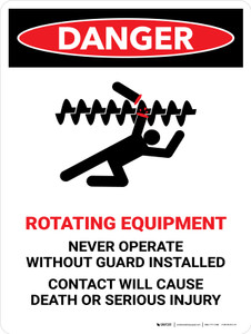 Danger: Rotating Equipment Portrait - Wall Sign