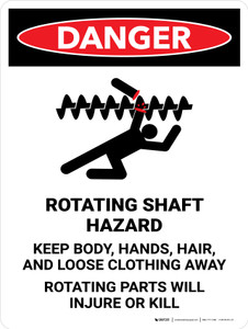 Danger: Rotating Shaft Hazard Keep Body Portrait - Wall Sign