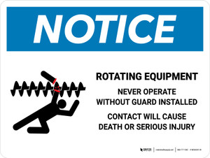 Notice: Rotating Equipment Landscape - Wall Sign