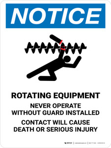 Notice: Rotating Equipment Portrait - Wall Sign