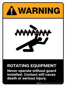 Warning: Ansi Rotating Equipment Portrait - Wall Sign