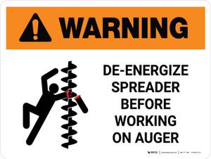 Warning: De-Energize Spreader Before Working Landscape - Wall Sign