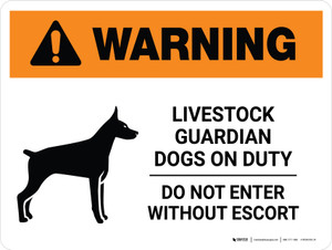 Warning: Livestock Guardian Dogs On Duty Do Not Enter Landscape - Wall Sign