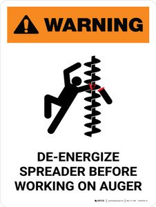 Warning: De-Energize Spreader Before Working Portrait - Wall Sign