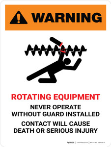 Warning: Rotating Equipment Portrait - Wall Sign