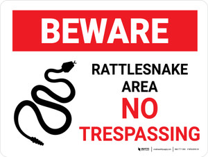 Beware: Rattlesnakes No Trespassing Landscape - Wall Sign