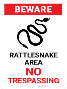 Beware: Rattlesnakes No Trespassing Portrait - Wall Sign