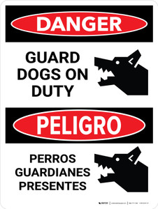 Danger: Guard Dogs On Duty Bilingual Portrait - Wall Sign
