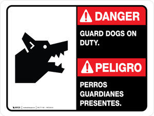 Danger: Guard Dogs On Duty Bilingual Landscape - Wall Sign