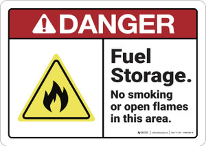 Danger: Fuel Storage No Smoking Or Open Flame - Wall Sign