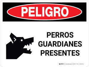 Peligro: Guard Dogs On Duty Landscape - Wall Sign