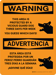 Warning: This Area is Protected By A Vicious Guard Bilingual Portrait - Wall Sign