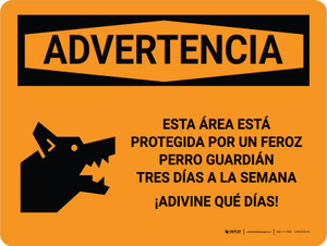 Warning: This Area Is Protected By A Vicious Guard Dog  Spanish Landscape - Wall Sign