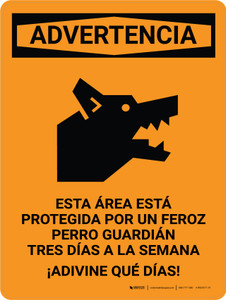 Warning: This Area Is Protected By A Vicioius Guard Dog Spanish Portrait - Wall Sign