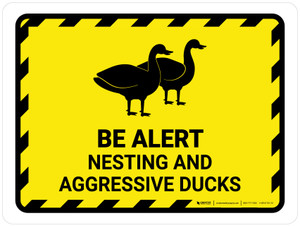 Be Alert - Nesting And Aggressive Ducks Landscape - Wall Sign