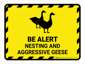Be Alert - Nesting And Aggressive Geese Landscape - Wall Sign
