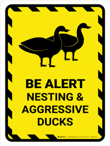Be Alert - Nesting And Aggressive Ducks Portrait - Wall Sign