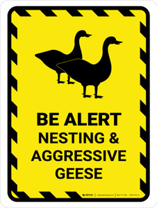 Be Alert - Nesting And Aggressive Geese Portrait - Wall Sign