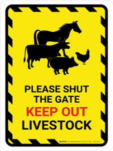 Please Shut The Gate - Keep Out Livestock Portrait - Wall Sign