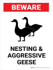 Beware: Nesting And Aggressive Geese Landscape - Wall Sign