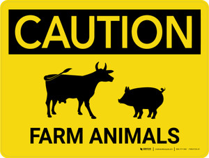 Caution: Farm Animals Cow And Pig Icons Landscape - Wall Sign