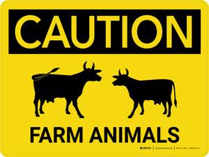 Caution: Farm Animals Cow Icons Landscape - Wall Sign