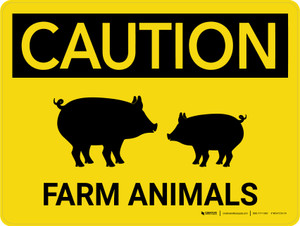 Caution: Farm Animals Pig Icons Landscape - Wall Sign