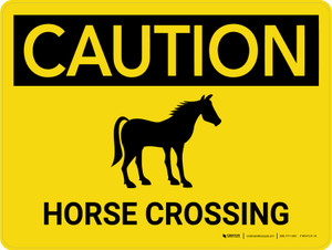 Caution: Horse Crossing with Icon Landscape - Wall Sign