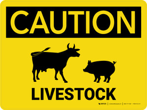 Caution: Livestock with Cow Pig Icons Landscape - Wall Sign