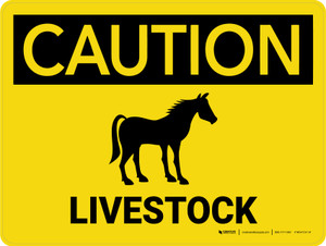 Caution: Livestock with Horse Icon Landscape - Wall Sign