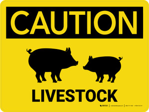 Caution: Livestock with Pig Icons Landscape - Wall Sign