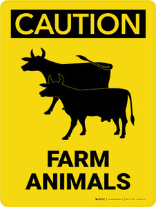 Caution: Farm Animals with Cow Icon Portrait - Wall Sign