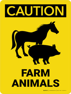 Caution: Farm Animals with Horse and Pig Icons Portrait - Wall Sign