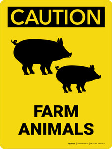 Caution: Farm Animals with Pig icons Portrait - Wall Sign