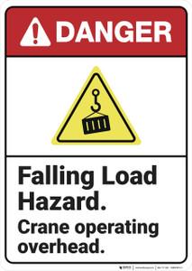 Danger: Falling Load Hazard Crane Safety ANSI - Wall Sign