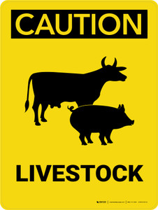 Caution: Livestock with Cow and Pig Icon Portrait - Wall Sign