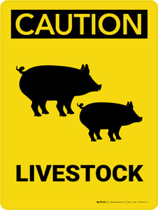 Caution: Livestock with Pig icons Portrait - Wall Sign