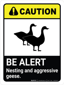 Caution: Be Alert - Nesting & Aggressive Geese ANSI Portrait - Wall Sign