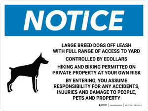 Notice: Large Breed Dogs Off Leash With Full Range of Access to Yard Landscape - Wall Sign