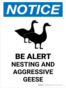 Notice: Be Alert - Nesting & Aggressive Geese Portrait - Wall Sign