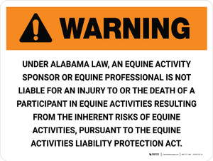 Warning: Alabama Equine Activity Sponsor Not Liable Landscape - Wall Sign