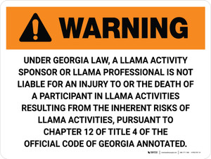 Warning: Georgia Llama Professional Is Not Liable Landscape - Wall Sign
